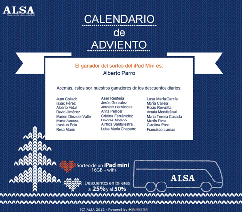 ALSA Ganadores Calendario de Adviento ALSA