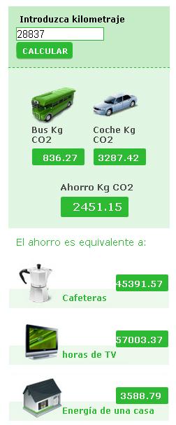 Calculadora ecológica   viajes en Autobus   ALSA