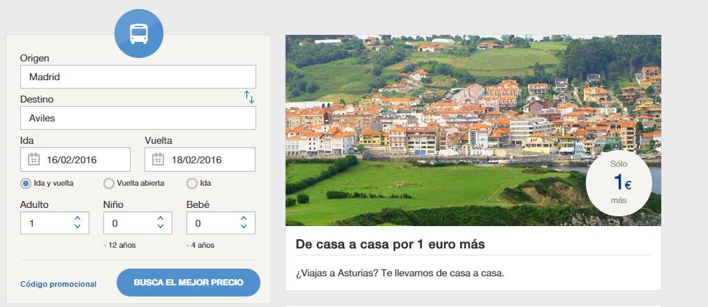 De casa a casa por 1 euro más Ofertas de viajes en autobús ALSA