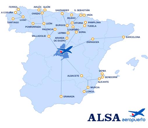 ALSA mapa aeropuerto t4 barajas madrid