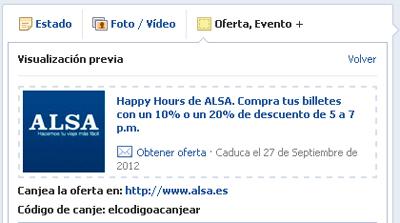 Oferta Alsa en Facebook