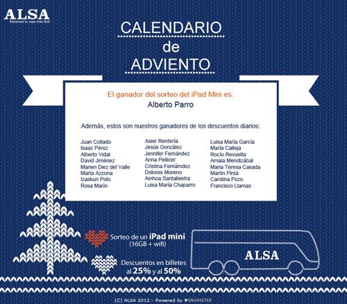Ganadores Calendario de Adviento ALSA