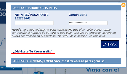 Nuevo log-in Bus Plus ALSA